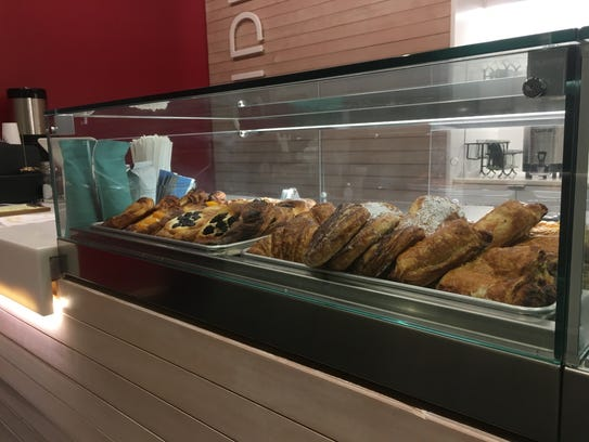 The pastry display at Mars Sidebar, a coffee shop located