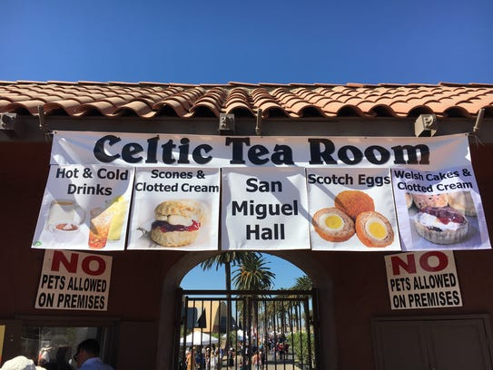 A banner advertising the Celtic Tea Room greets visitors