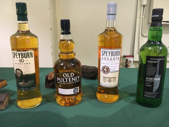 Different brands of single malt whiskey are seen during