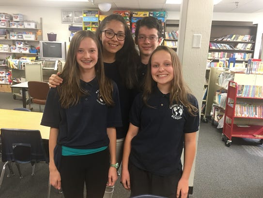 Part of the leadership team at Mt. Rose Elementary Shelby Hunsaker, Sophia Martinez, Duncan Ricther and Carrie Debarger. Students at Mt. Rose raised more than $400 for a family affected by Hurricane Maria.