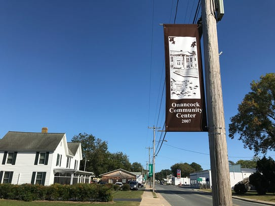 Banners highlighting Onancock's historic sites are