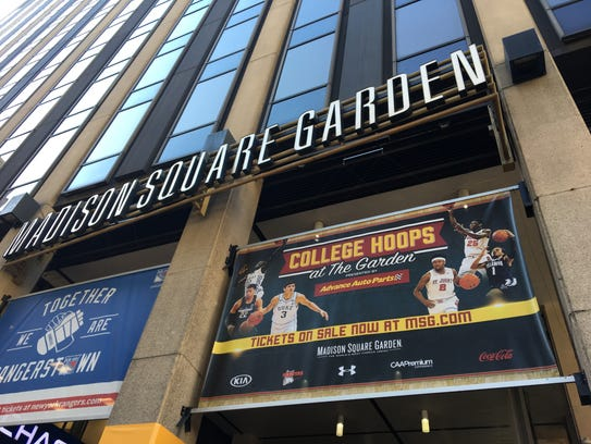 A banner hanging outside Madison Square Garden in New