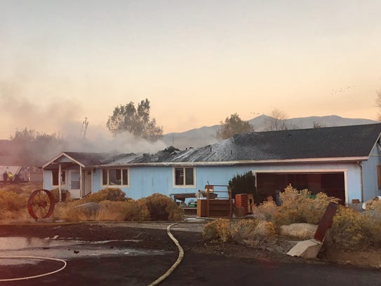 A house burns Monday, Oct. 23, 2017 in Lemmon Valley.