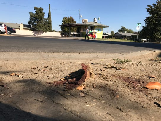 Blood on the sidewalk is left after a man was shot