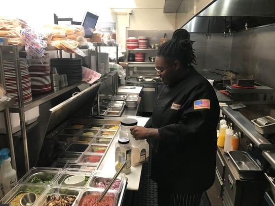 Starlet Maye, a chef at the Pioneer Diner in Pleasant