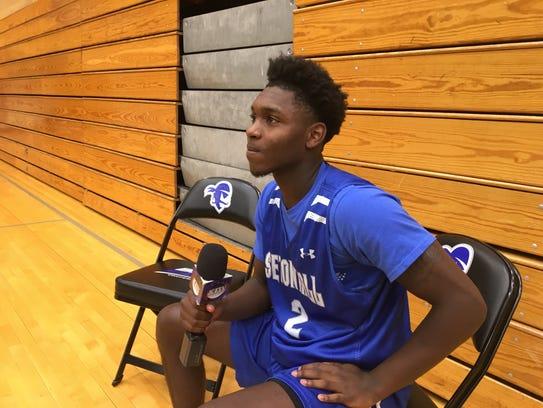 Seton Hall guard Jordan Walker does an interview.