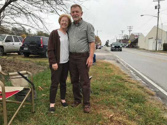Duane and Gennie Fuller of Willard wait for the parade