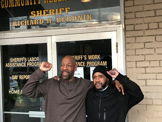 Eric Kelley and Ralph Lee outside the Passaic County Jail in November.