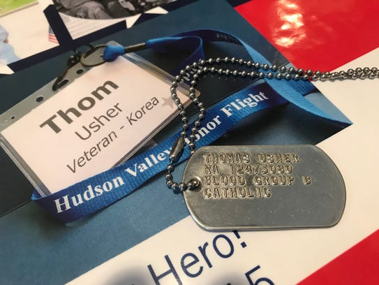 Thom Usher, a Korean War Veteran, wears the dog tag from his time in service every day.