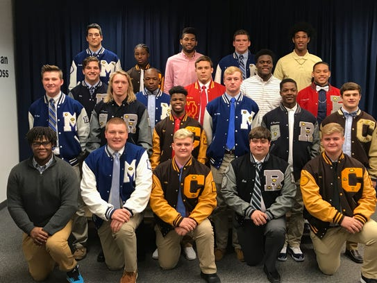 The Downtown Quarterback Club named its 2017 All-City Team Monday. Members are: front row (from left) Daron Pierce, Central; Drew Hart, Memorial; Holton Zoss, Central; Parker Dierks, Reitz; Avery Zoss,  Central. Second row: Branson Combs, Memorial; Isaiah Dunham, Reitz; Tor'Jon Evans, Central; Michael Lindauer, Memorial; Da'Ziaun Sargent, Reitz; Reeder Pennell, Central. Third row: Joey Diekmann, Reitz; Keioni McGuire, Memorial; Michael Boots, Mater Dei; Joe Space, Central; Carlis Falls-Wells, Bosse. Back row: Miguel Turnbaugh, Memorial; Tre'Jon Evans, Central; Kiave Guerrier, Central; Max Goodwin, Memorial, Malcolm DePriest, Central.