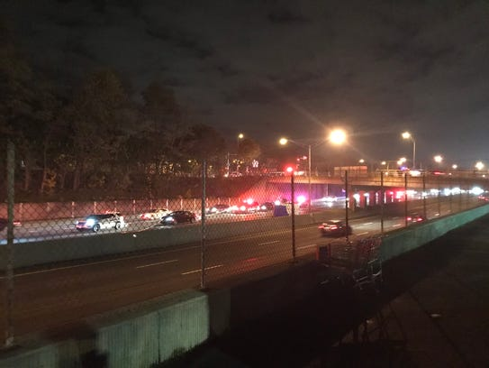 Police on scene of a fatal incident on Interstate 490