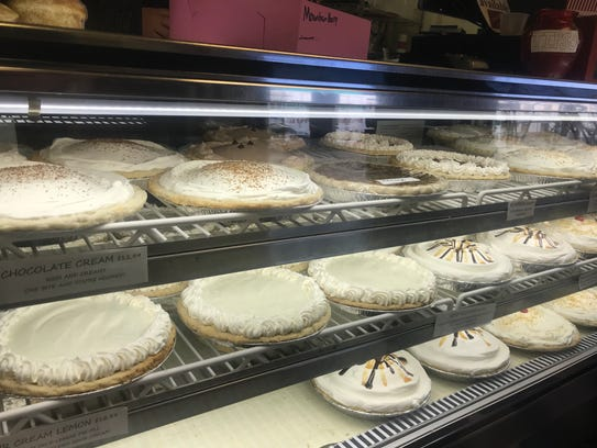 A selection of creme pies on display at Veyo Pies,