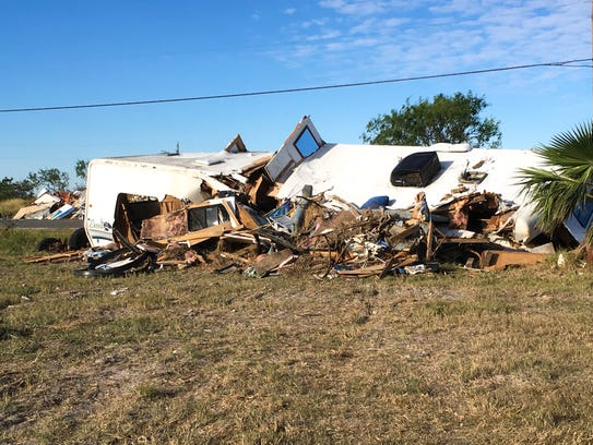 Connie Wallingford's former home, an RV, remained smashed along the roadside for months after Hurricane Harvey. Cleanup has since launched.