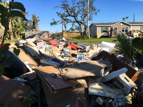 Debris remained piled in the Copano Heights neighborhood, outside Rockport city limits, in late October. Much of it was recently removed.