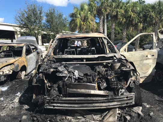 Three cars that caught fire after an RC car sparked