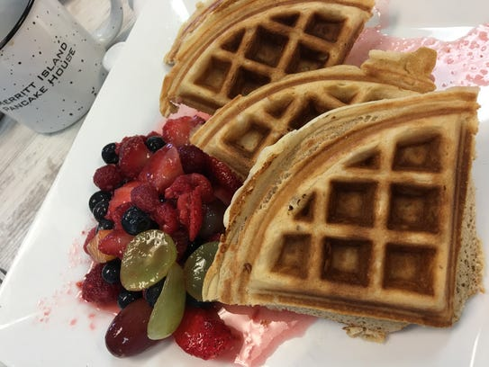 The fresh fruit waffle was delightfully crisp and brown,