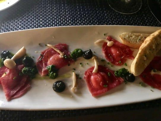 Beef carpaccio, ravioli-style at Baleen