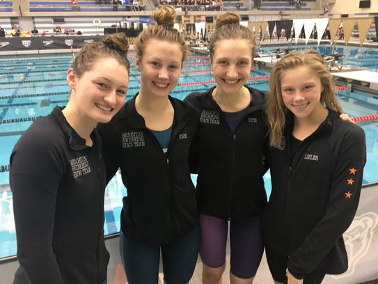 Brighton's 400 relay team of (left to right) Megan Lubinski, Kellie House, Chloe Reed and Lindsey Witte finished seventh in the state Division 1 meet.