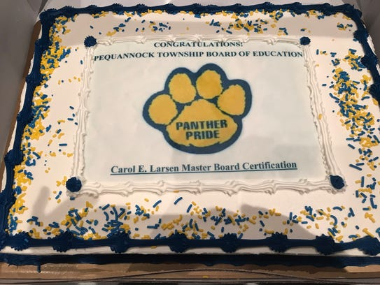 The Pequannock school board was feted at its regular board meeting for earning the Carol E. Larsen Master Board Certification.