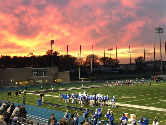 A dramatic sunset takes place at Kean University as