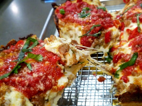 Detroit pizza superficially resembles Chicago style