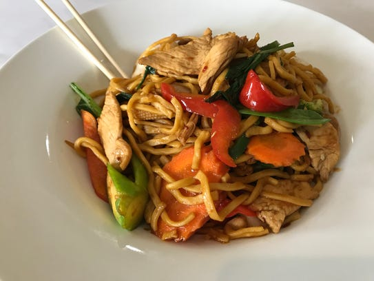Spicy Basil Lo Mein Noodles at Thai Mii Up