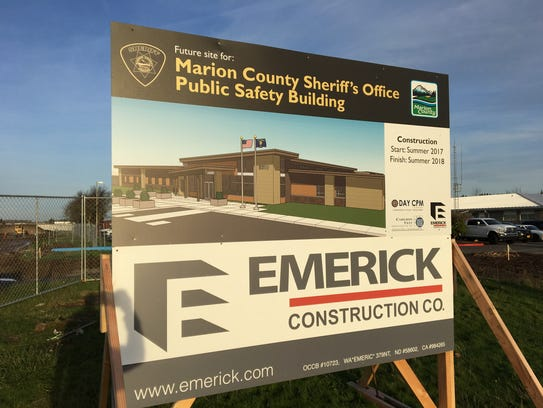Construction sign for the new Marion County Sheriff's