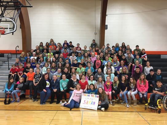 Students at Oakfield Middle School thank Sue and Sarah
