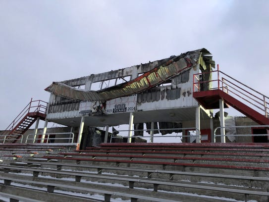 A fire destroyed the press box, locker rooms and concession