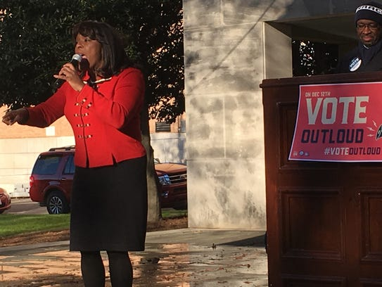 Rep. Terri Sewell, D-Ala., spoke at a rally last year at a park in Birmingham that was the site for many civil rights protests. The park is steps from the 16th Street Baptist Church.