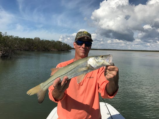 Rob Torrisi shows a snook he caught on a recent Florida trip.