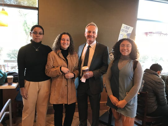 Desert Sands Unified School District Superintendent Scott Bailey (third from left) chats with La Quinta High School students during one of his Bailey & Coffee events.