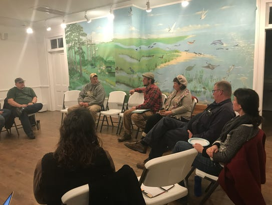 Farmers brainstorm ways to address challenges and promote farming on the Eastern Shore during the Delmarva Farmers Union's Farmer Circle at the Barrier Islands Center, in Machipongo, on Dec. 7.