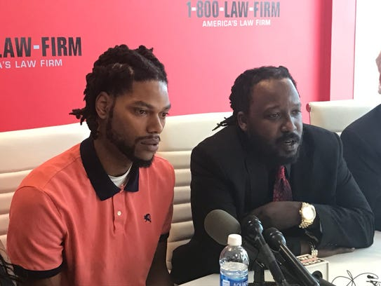 Detroiters D'Marco Craft, left, and Michaele Jackson, right, are suing the city of Detroit and Special Operations officers Richard Billingslea and Hakeem Patterson of the Detroit Police 5th precinct for being beaten and maced.