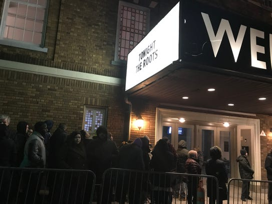 People waiting to get out of the cold and into the Wellmont Theater in Montclair on Dec. 27 to see The Roots.