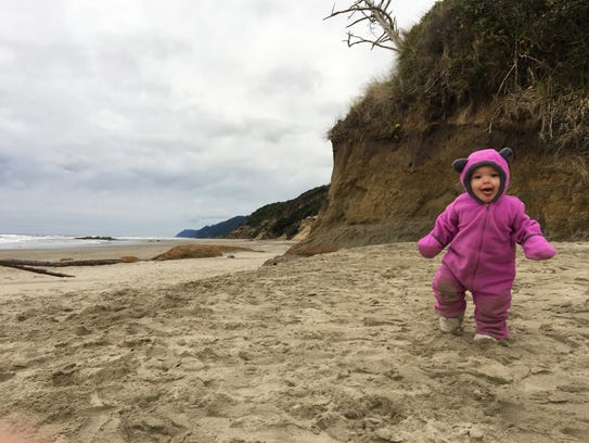 Rollie Urness, 1, rambles around on the Hobbit Beach