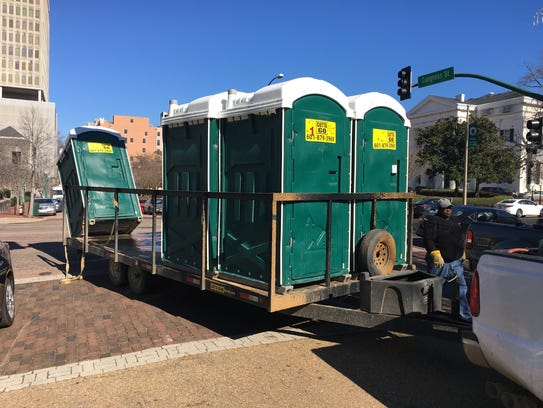 If you don't know someone or have building access downtown, you'll probably be paying to use one of these at the Hal's St. Paddy's Parade.