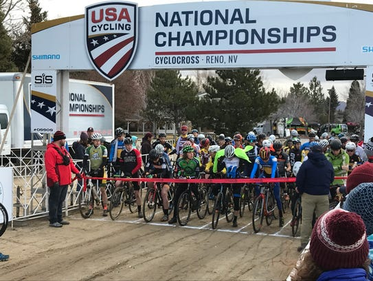 The start of the college varsity race at the National