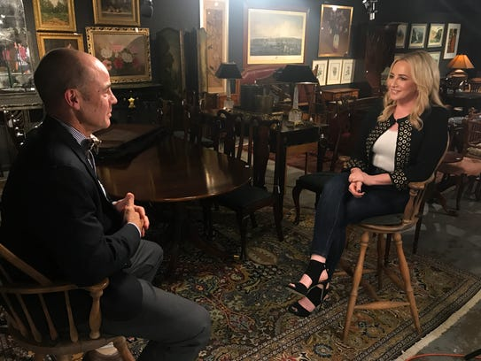 "Jamie Colby, right, host of the Fox Business Network Show, ""Strange Inheritance,"" interviews Bloomfield-based auctioneer John Nye for an episode airing on Monday, Jan. 15. It details a Bloomfield family's finding a Rembrandt in their basement."