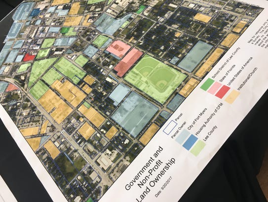 A map of downtown and midtown Fort Myers displayed