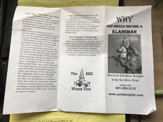 Fliers looking to recruit members for the Ku Klux Klan