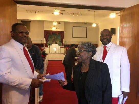 St. Paul Baptist Church ushers, Mel Missouri, left,