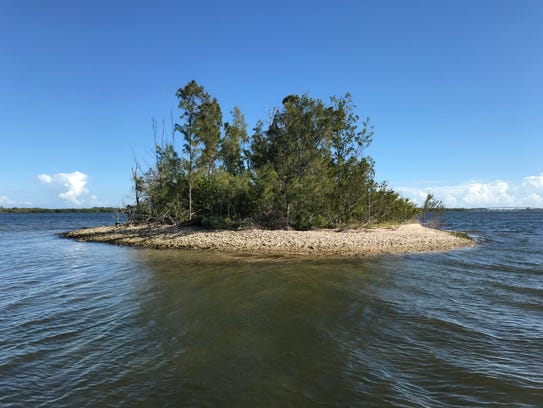 """One of the """"Six Sisters"""" spoil islands north of the"""