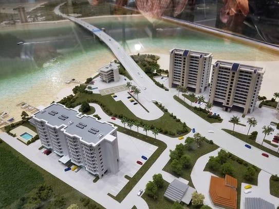 A miniature replica of the new drawbridge design of