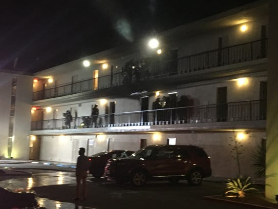 Palm Springs firefighters check rooms at The Roadway