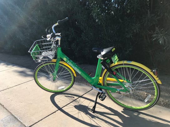 A LimeBike is seen parked in Phoenix's Arcadia neighborhood