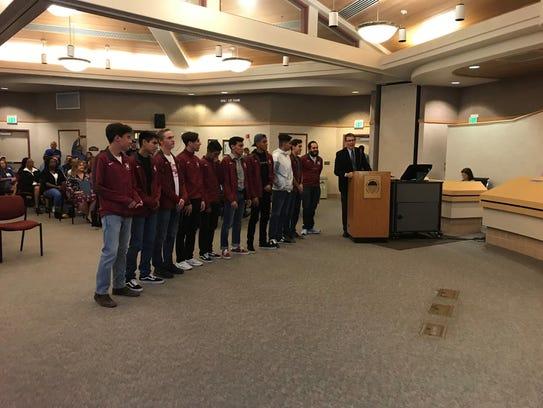 The La Quinta High School team of athletes is recognized