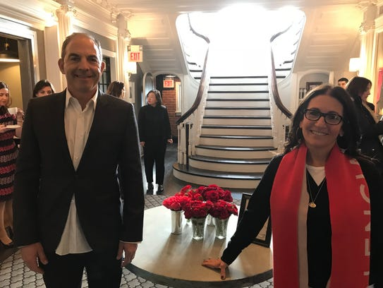Montclair developer Steven Plofker and his wife, cosmetics maven Bobbi Brown, standing in their new hotel, George Inn, during its preview tour on Jan. 24.