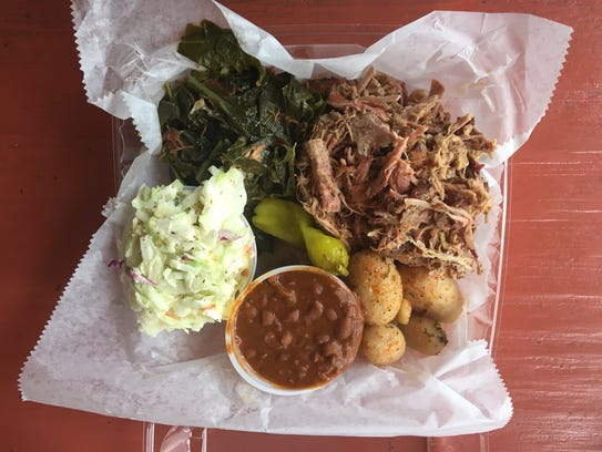 The Carolina barbecue platter at the Gator Shack comes