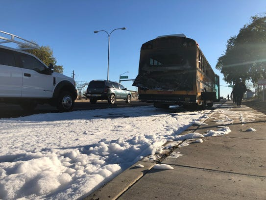 No injuries were reported after fire broke out in the back of a Tempe Union High School District bus on Jan. 29, 2018. The cause was not immediately known.